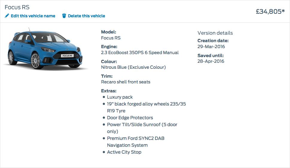 Focus RS Price