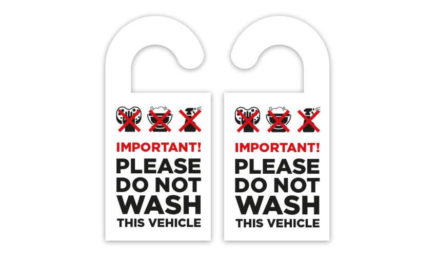 Do Not Wash Vehicle Mirror Hanger Sign
