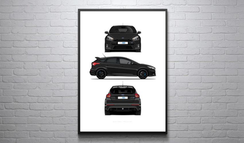 MK3 Focus RS 3 Profile Poster Print Shadow Black