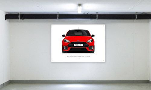 Red Edition Focus RS Garage Banner Side View